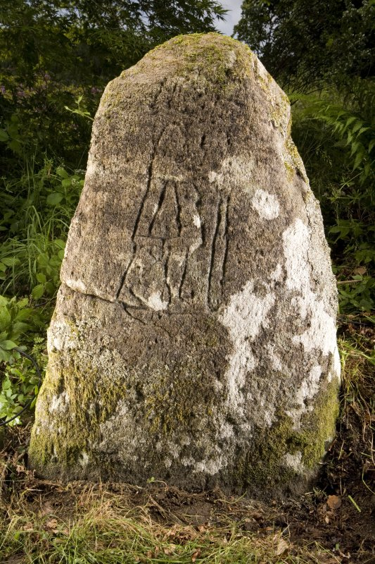 View of stone showing carved pictish figure