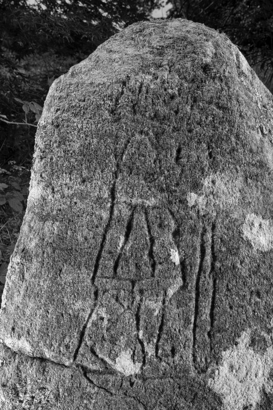 Detail of carved pictish figure B&W)