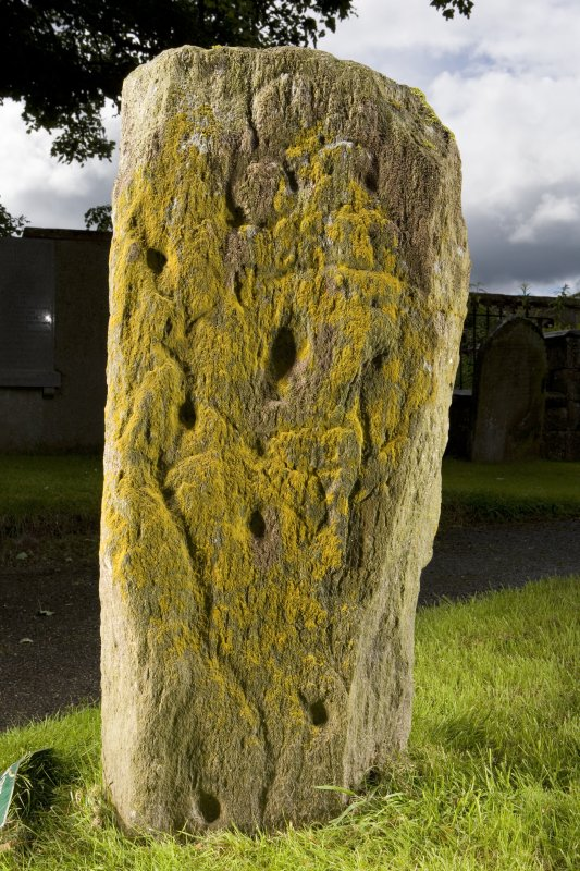 View of front face of stone showing pictish symbols