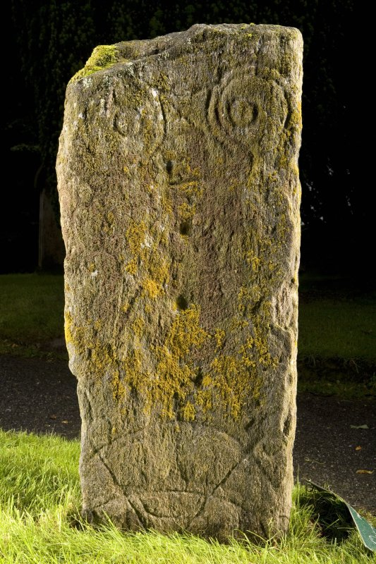 View of rear face of stone showing pictish symbols