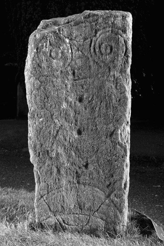 View of rear face of stone showing pictish symbols (B&W)