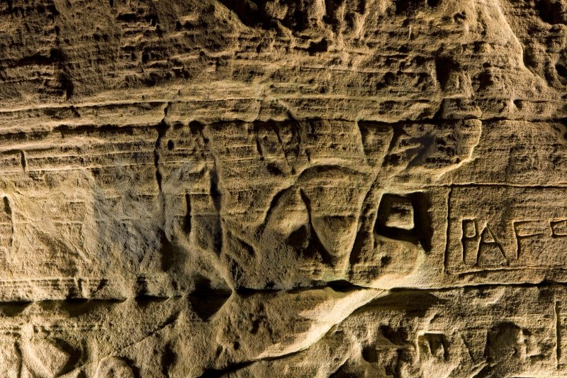 Detail of carving on cave wall at Sculptor's Cave, Covesea, showing fish and crescent and v-rod Pictish symbols