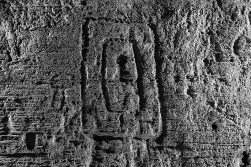 Detail of  Pictish rectangle symbol on wall of Sculptor's Cave