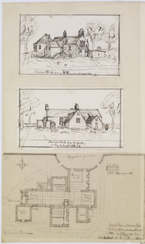 Digital copy of page 47v/1. Ink sketches of Abercorn Church from NW, from S and plan. 'MEMORABILIA, JOn. SIME  EDINr.  1840'