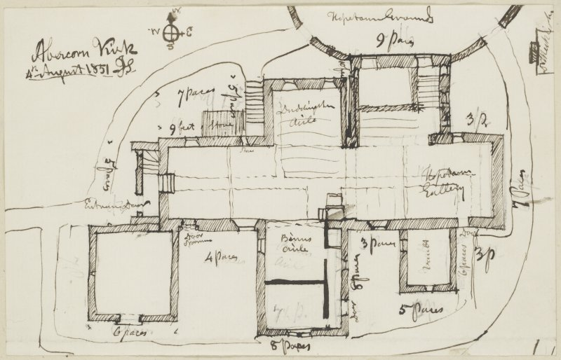 "Digital copy of page 48: Ink sketch plan of Abercorn Kirk Insc. ""Abercorn Kirk 4th August 1851.  J.S."" 'MEMORABILIA, JOn. SIME  EDINr.  1840'"