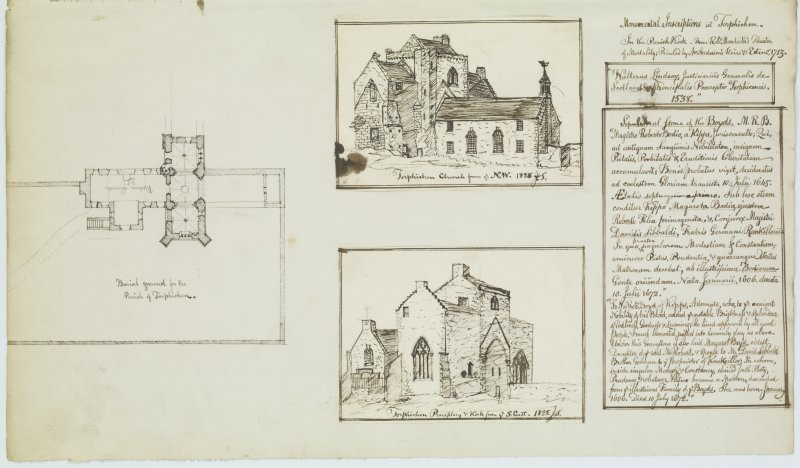 Digital copy of page 51: Ink sketches of Torphichen Church from North West, from South East and a plan with written text detailing monumental inscriptions from Church. 'MEMORABILIA, JOn. SIME  EDINr.  1840'