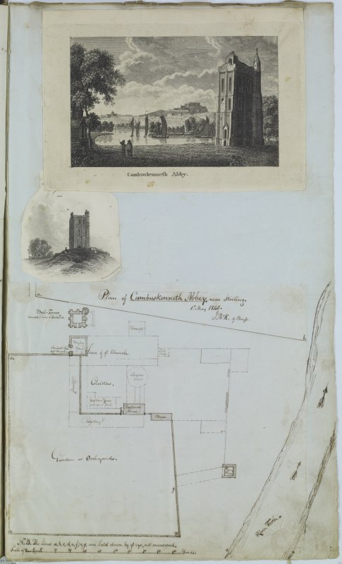 Digital copy of page 52: Two engravings and an ink sketch plan of Cambuskenneth Abbey. 'MEMORABILIA, JOn. SIME  EDINr.  1840'