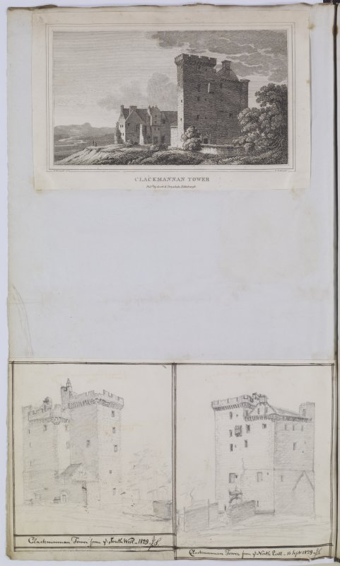 Digital copy of page 52V. Engraved view of Clackmannan Tower from NE and two pencil sketch views from NE and from SW. MEMORABILIA, JOn. SIME  EDINr.  1840