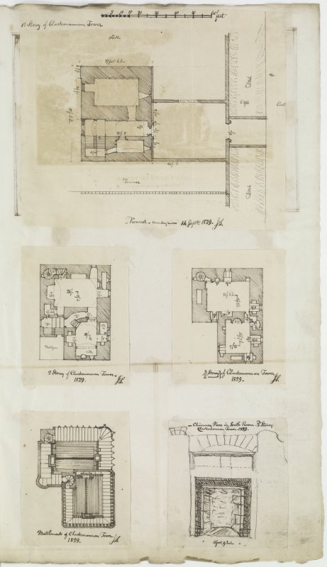 Digital copy of page 53. Detail of chimney piece in South room on third floor and plans of first, second, third and fourth floors and battlements of Clackmannan Tower. MEMORABILIA, JOn. SIME  EDINr.  1840