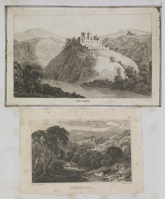 Page 53 verso: Two engravings showing general views of Castle Campbell. 'MEMORABILIA, JOn. SIME  EDINr.  1840'