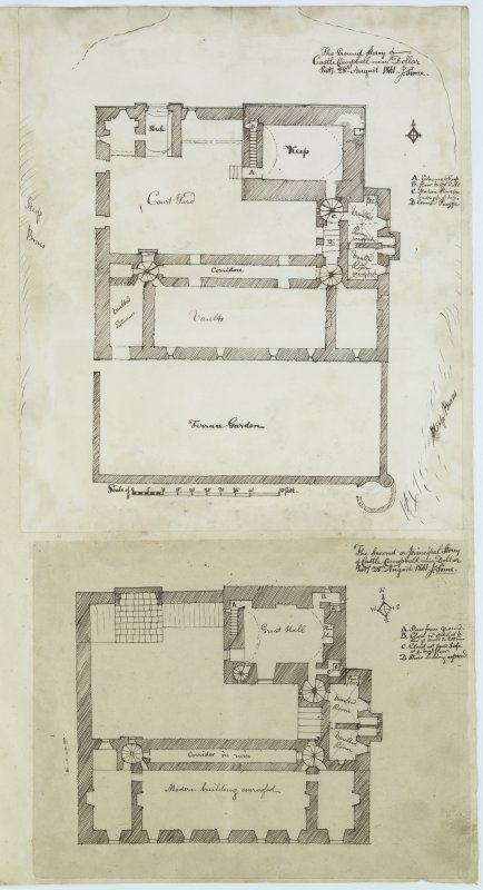 Digital copy of page 54: Ink sketch plans of Ground and Second Floor of Castle Campbell. 'MEMORABILIA, JOn. SIME  EDINr.  1840'