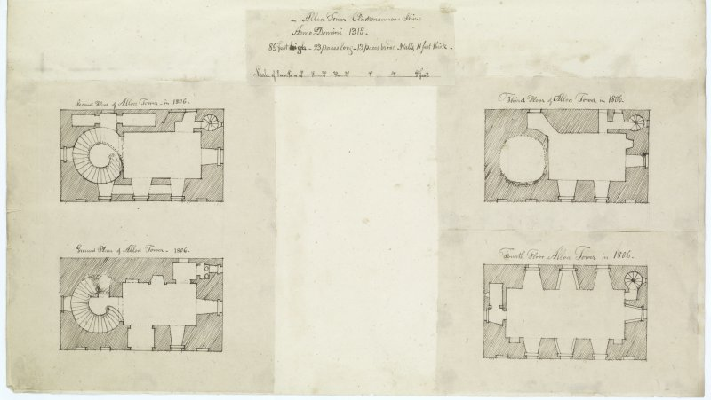 Digital copy of page 55: Ink sketch plans of ground, second, third and fourth floors of Alloa Tower. 'MEMORABILIA, JOn. SIME  EDINr.  1840'