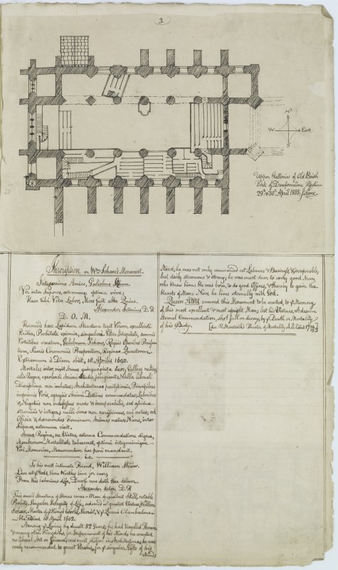 "Digital copy of page 60: Ink sketch plan of Upper Gallery of Dunfermline Old Parish Church, with written details of inscription on William Schaw's (Shaw) Monument Insc. "" Upper Galleries of Old Parish Kirk of Dunfermline, Fifeshire. 29th & 30th April 1805. J.Sime"" 'MEMORABILIA, JOn. SIME  EDINr.  1840'"