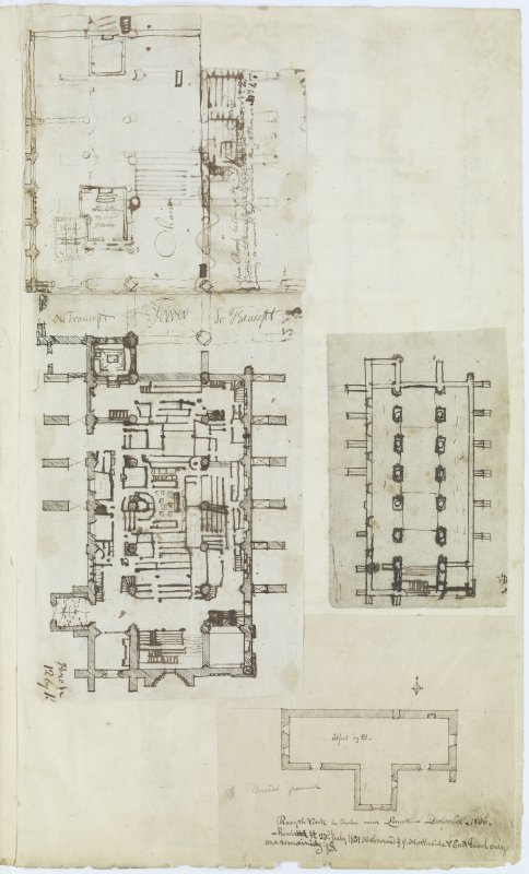 Digital copy of page 61: Ink sketch plans of Dunfermline Abbey Church and of Rosyth Church. 'MEMORABILIA, JOn. SIME  EDINr.  1840'