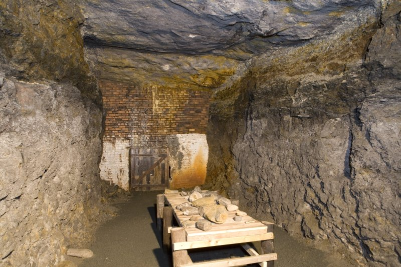 Interior. Mine No 3. View of undergound chamber where the fire clay has been mined. On the table is an array of fossilised plant material that can be handled by vistors to the mine.
