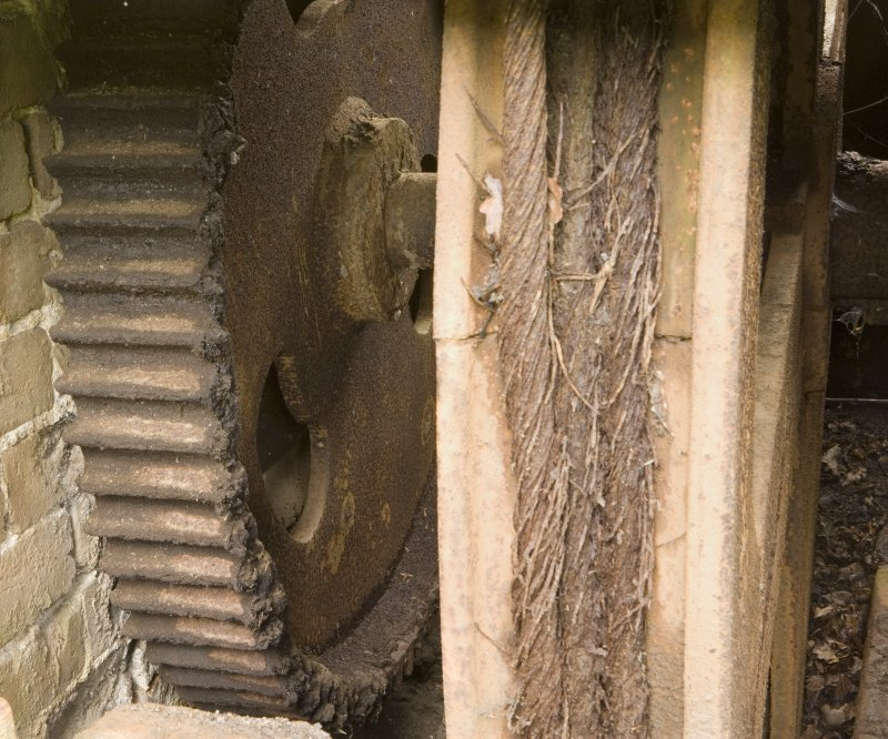 Winding and Haulage. View of gear wheel, part of winding mechanism indirect drive to pan mill crusher adjacent.