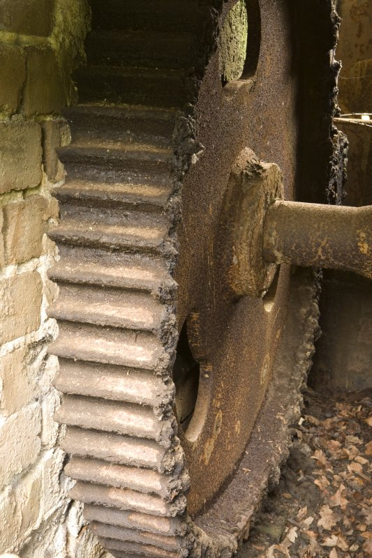 Winding and Haulage. Detail of gear wheel, part of winding mechanism indirect drive to pan mill crusher adjacent.