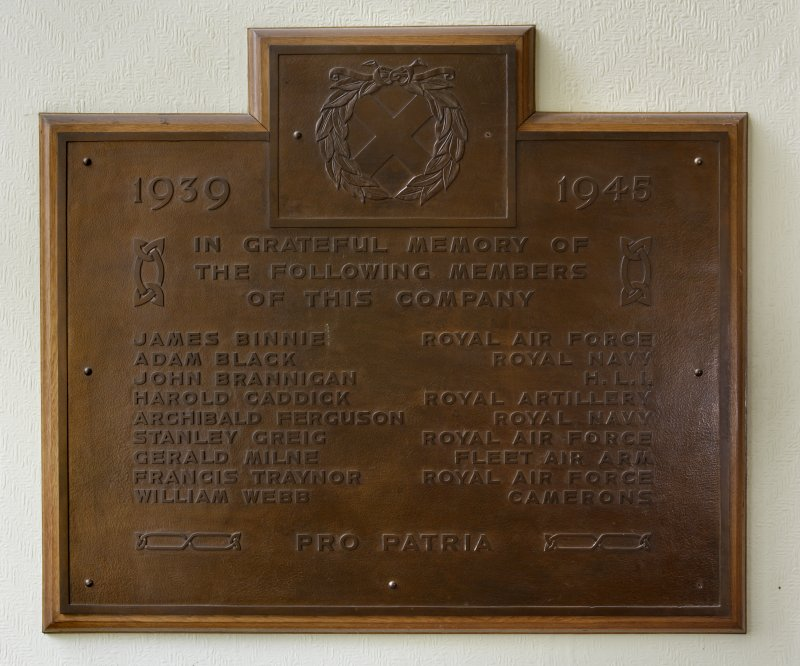 Interior. Detail of WW2 plaque on landing.