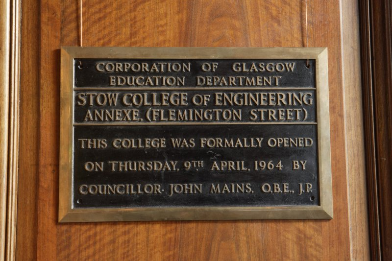 Interior. Detail of plaque in directors board room.