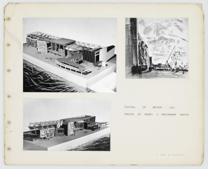 Page of practice portfolio showing views of model and preliminary sketch for Sea and Ships Pavilion, Festival of Britain.