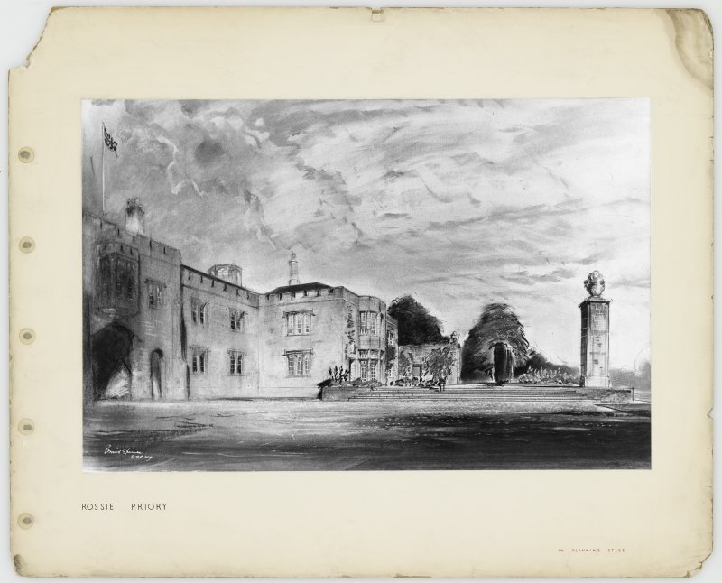Page of practice portfolio showing perspective of Rossie Priory.
