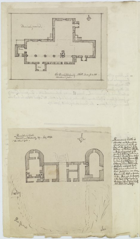 Digital copy of page 62 verso: Ink sketch plan of Old Church, Kirkcaldy and of Ravenscraig Castle, with details of history of Castle. 'MEMORABILIA, JOn. SIME  EDINr.  1840'