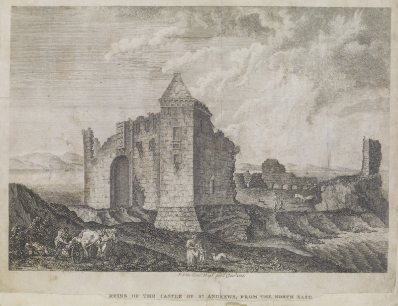 "Engraving showing the ruins of St Andrews Castle. Titled; ""Ruins of the Castle of St Andrews, from the North East.  For the Edin.r Mag.e pub.d 1st Jan.y 1801"" 'MEMORABILIA, JOn. SIME  EDINr.  1840'"