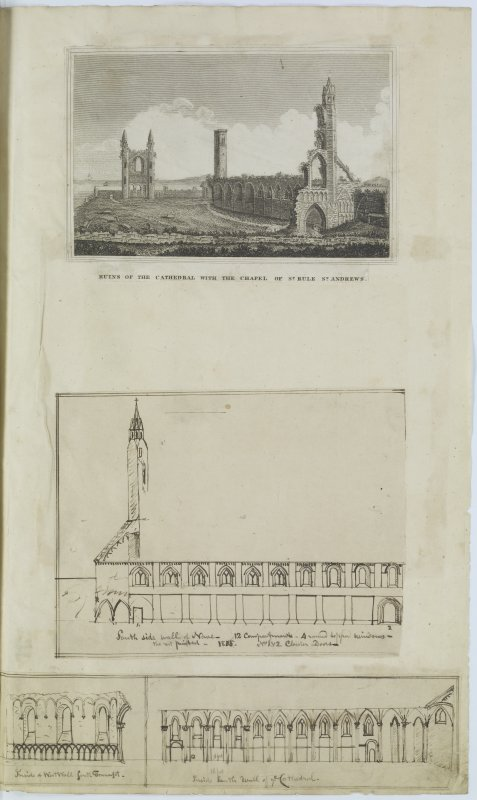 Digital copy of page 68: Engraving showing general view of ruins of St Andrews Cathedral and the Chapel of St Rule, and ink sketches showing South side of the Nave and insides of  West wall of South Transept and West wall of St Andrews Cathedral. 'MEMORABILIA, JOn. SIME  EDINr.  1840'