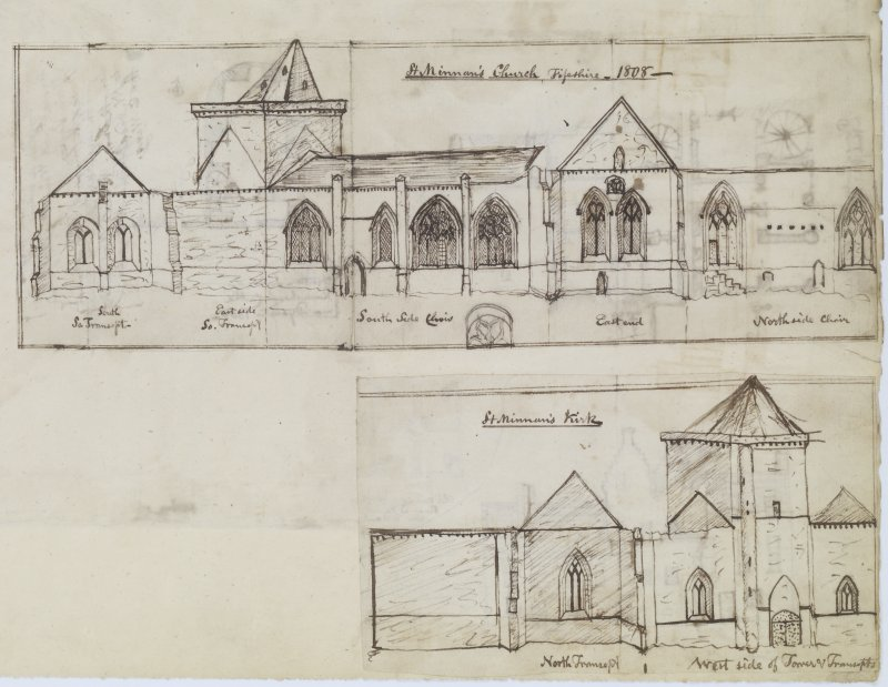 Digital copy of page 71 verso: Ink sketch showing all elevations of Church and ink sketch showing North Transept and West side of Tower and Transept of St Monan's Church, Fife.  'MEMORABILIA, JOn. SIME  EDINr.  1840'