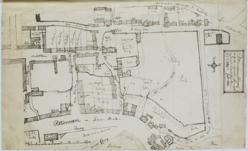 "Sketch plan of Pittenween Abbey Insc. ""Pittenweem Abbey & parts adjacent. Surveyed by Messrs Jo. Mackinlay & Jo. Sime, 16th July 1829 & Sept. 1833"" 'MEMORABILIA, JOn. SIME  EDINr.  1840'"