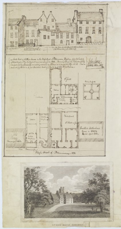 Digital copy of page 72 verso:  Ink sketch of South front and plan of houses in High Street, Pittenweem and an engraving showing general view of Lundin House. 'MEMORABILIA, JOn. SIME  EDINr.  1840'