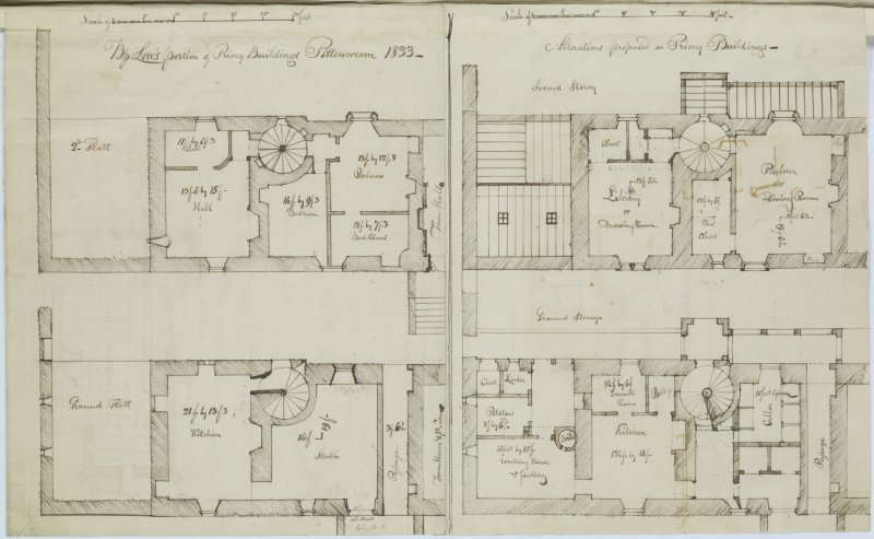 Ink sketch plans of Ground and Second Floors and proposed alterations to these floors of Pittenweem Priory. 'MEMORABILIA, JOn. SIME  EDINr.  1840'