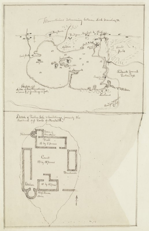 Digital copy of page 77 verso: Ink sketch general plan of Lake Inschemachame and surrounding land and an ink sketch plan of Talla-Isle, Lake of Menteith. 'MEMORABILIA, JOn. SIME  EDINr.  1840'
