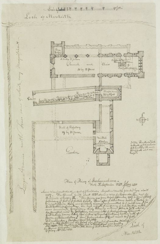 "Digital copy of page 78: Ink sketch plan of Inshmahome Priory. Insc. ""Plan of Priory of Inschemachame. Wedy. 3d. September 1845. J.Sime"" 'MEMORABILIA, JOn. SIME  EDINr.  1840'"