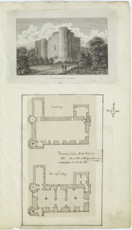 Digital copy of page 79: Engraving showing general view of Tulliallan Castle and ink sketch plans of First or Ground and Second Floors of Tulliallan Castle. 'MEMORABILIA, JOn. SIME  EDINr.  1840'