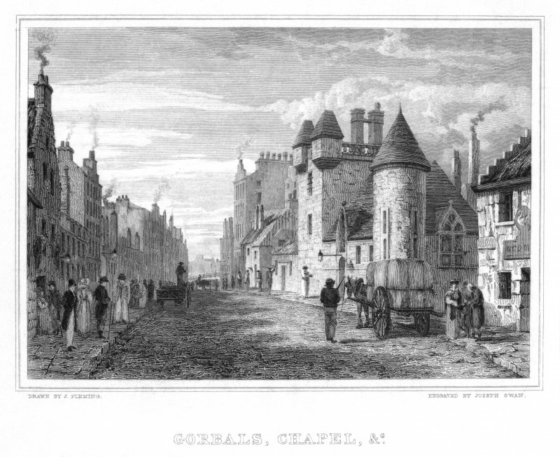 "Engraving showing view of Gorbals.  Inscr: ""Gorbals Chapel and etc"""