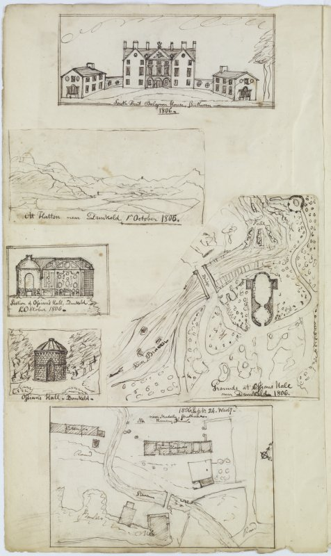 Digital copy of page 80 verso: Ink sketches of Balgowan House, Mount Hatton near Dunkeld, Ossian Hall in Dunkeld and Ramsay Tower near Madderty. MEMORABILIA, JOn. SIME EDINr. 1840'