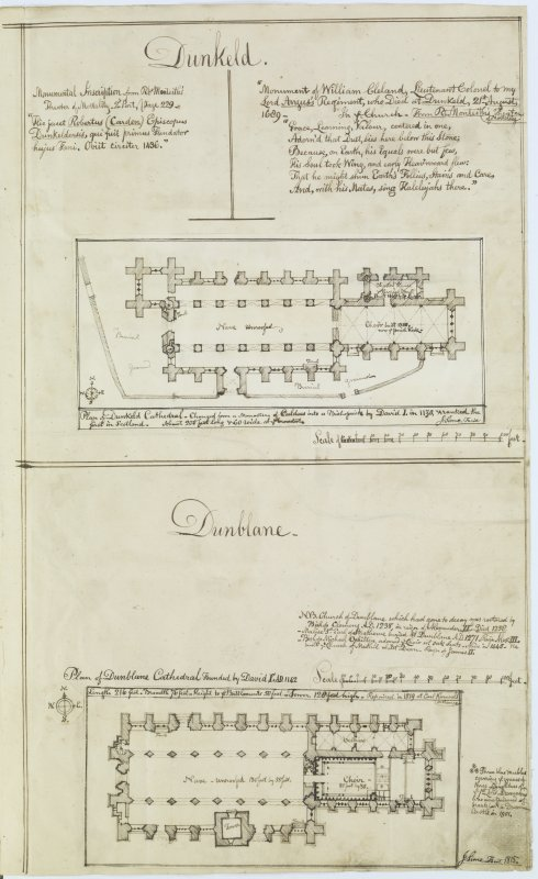 Digital copy of page 81: Ink sketch plan of Dunkeld Cathedral, with written text detailing inscriptions from monuments, and of Dunblane Cathedral. 'MEMORABILIA, JOn. SIME  EDINr.  1840'