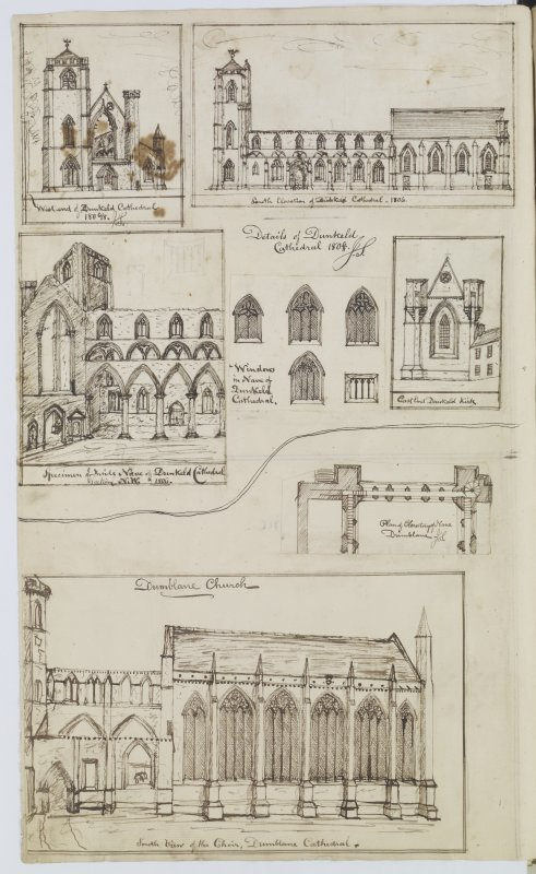 Digital copy of page 81 verso: Ink sketches of Dunkeld and Dunblane Cathedrals. 'MEMORABILIA, JOn. SIME  EDINr.  1840'