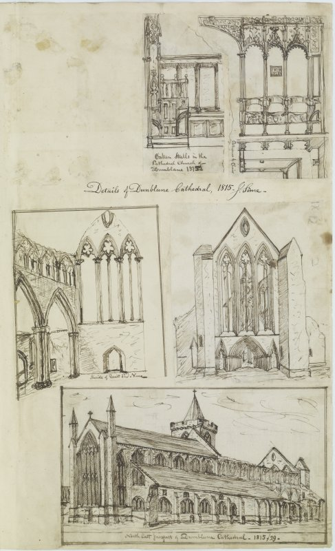 Digital copy of page 82: Ink sketches of Dunblane Cathedral. 'MEMORABILIA, JOn. SIME  EDINr.  1840'