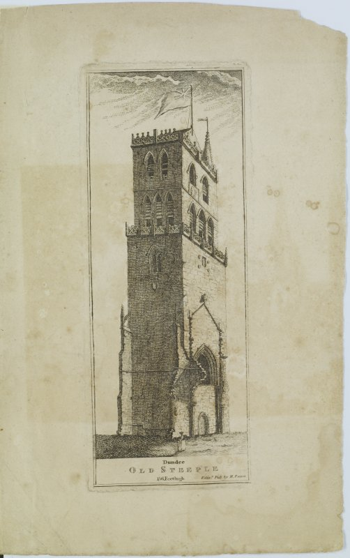 "Digital copy of page 83: Engraving showing general view of Old Steeple of St Mary's Church, Dundee Insc. ""Dundee. Old Steeple. 156 Feet high. Edin.r Pub. by H.Paton"" 'MEMORABILIA, JOn. SIME  EDINr.  1840'"