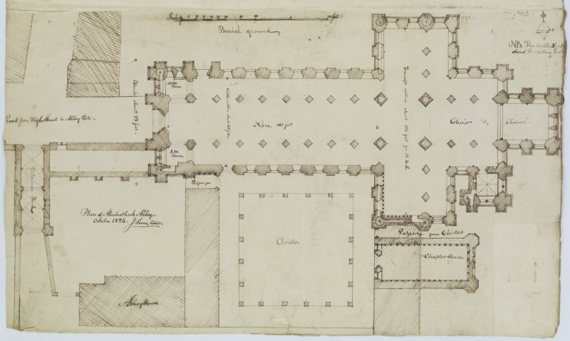 Digital copy of page 84: Ink sketch plan of Arbroath Abbey. 'MEMORABILIA, JOn. SIME  EDINr.  1840'
