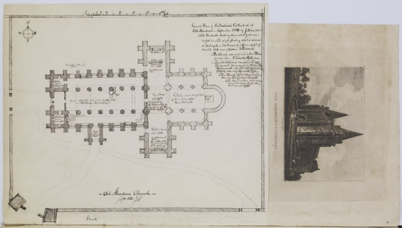 Digital copy of page 85 verso: Engraving from South West and ink sketch plan of Old Aberdeen Cathedral. 'MEMORABILIA, JOn. SIME  EDINr.  1840'.