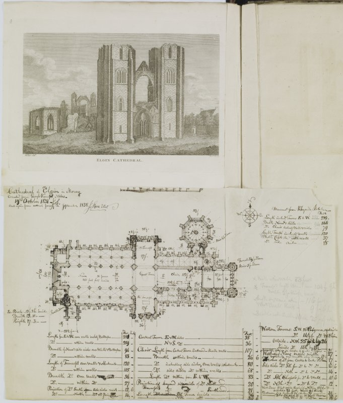 Digital copy of page 88 verso:  Engraving showing general view of Elgin Cathedral and ink sketch plan of Elgin Cathedral, with written notes relating to dimensions. 'MEMORABILIA, JOn. SIME  EDINr.  1840'