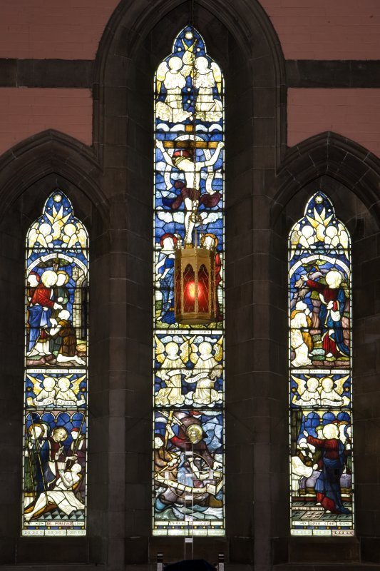 Interior.  Steven Chapel.  View of stained glass window by Clayton & Bell