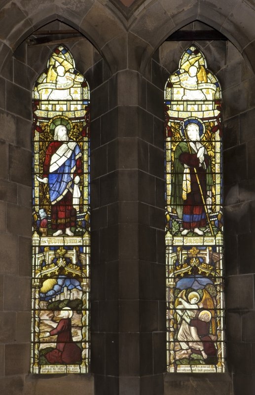 Interior.  Steven Chapel.  View of stained glass window by Burlison & Grylls