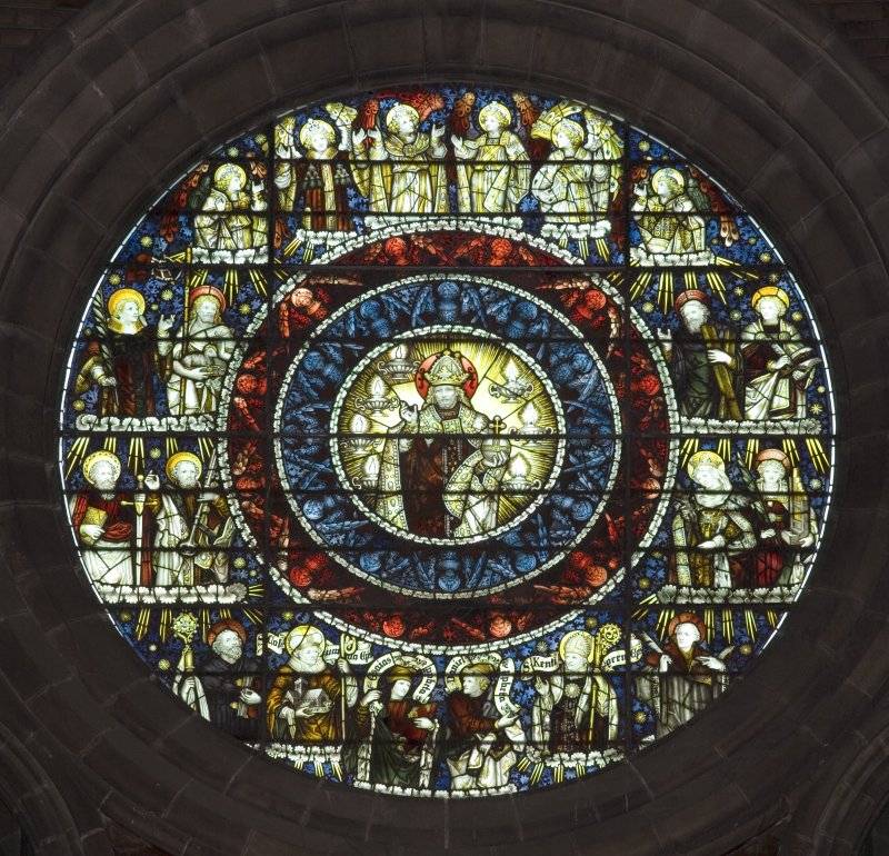 Interior. Chancel. View of stained glass oculus of Christ Enthroned by C E Kempe c.1898