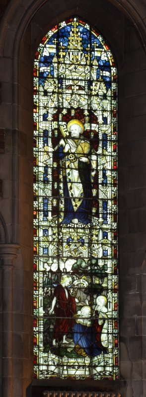 Interior. View of nave stained glass window by Charles E Kempe
