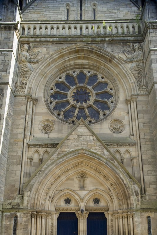 View of W entrance with rose window above