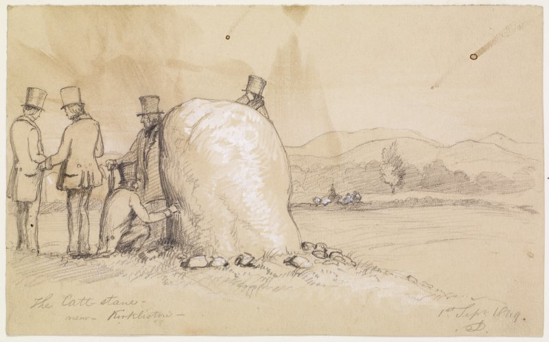 Drawing of the Cat Stane by J Drummond. Titled: 'The Catt stane near Kirkliston. 1st Sept 1849. JD'.